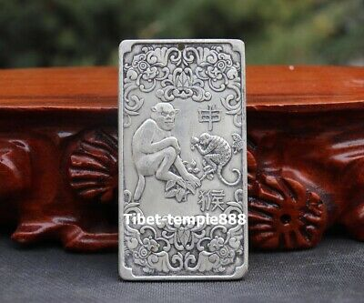 9 CM White Bronze silver plating Amulet China Zodiac Animal Monkey bat Pendant