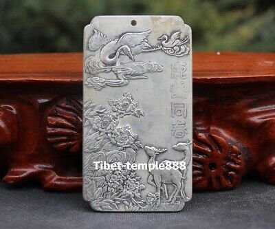 10 cm Chinese Bronze silver plating sika deer red-crowned crane Amulet Pendant