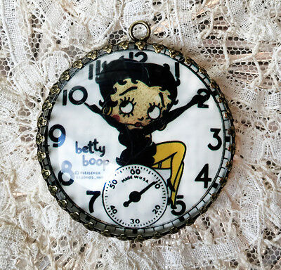 Betty Boop POCKET WATCH ~ XL 35mm ROUND  PENDANT Filigree COMIC CHARACTER