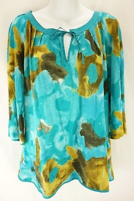 94bf94c42fd CALVIN KLEIN Multi Color Tie V-Neck 3/4 Sleeve Pleated Blouse Women's Size