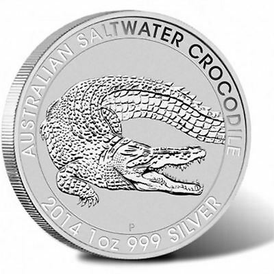 2014 Saltwater Crocodile Frosted UNC 1 oz silver Coin | Australia Perth Mint