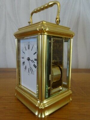 Fully restored gilded gorge cased Margaine repeater carriage clock; c. 1865/70