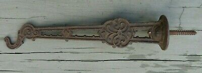 """Ornate Antique Cast Iron  Screw-In Wall Hook / Hanger  8-1/2"""""""