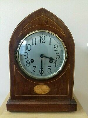 Antique  Edwardian Mantel Clock Inlaid Cathedral Arch