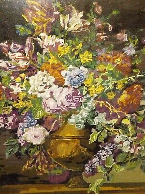 Vintage royal Paris large tapestry picture needlepoint Bouquet Flowers french