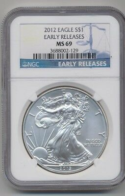 American Silver Eagle 2012 Ngc Ms69 Early Release Blue Stripe Label