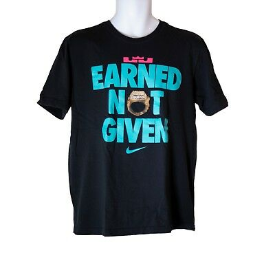 df25a66d Mens Nike Lebron Earned Not Given South Beach Miami Heat Black T-Shirt Size  L