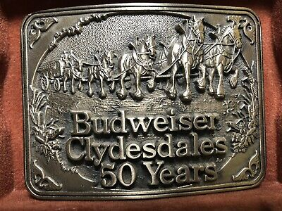 1983 50th Anniversary First Edition Budweiser Clydesdales 50 Years Belt Buckle.