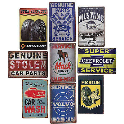 Retro Metal Tin Signs Garage Service Parts Tyres Man Cave Decor Men US SHIPPING