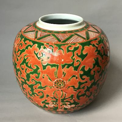 Antique chinese 19th C. green-glaze with coral red cutting pattern jar