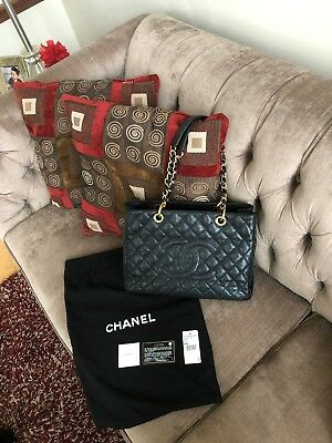 deabd5f9c855 Authentic CHANEL GST Grand Shopping Tote Bag Black Caviar Purse Gold HW Used