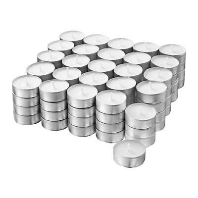 100 TEA LIGHT CANDLES 4 Hours Burning Time 38mm Restaurant IKEA Glimma Unscented