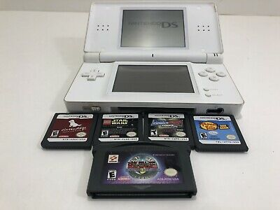 Nintendo DS Lite Handheld Video Game Console Bundle w/Games & Charger **WHITE**