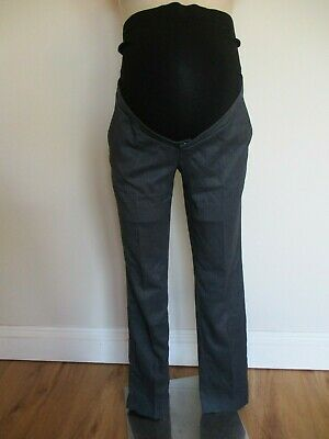 Seraphine Maternity Smart Grey Twil Over Bump Tapered Work Trousers Size 12 Bnwt