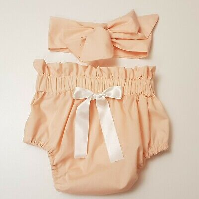 Beautiful Summer Peach Colour  Baby's Bloomer and headwrap set girls clothes New