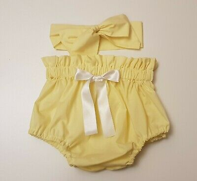 Beautiful Summer Yellow Baby's Bloomer and headwrap set girls clothes New