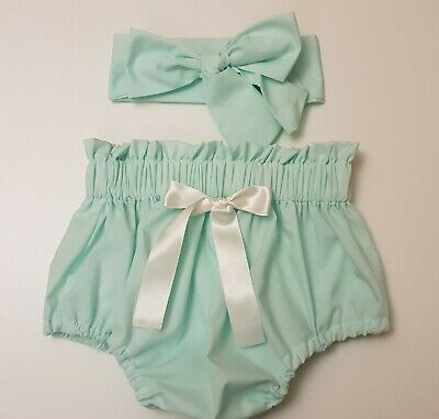 Beautiful Summer Mint Colour  Baby's Bloomer and headwrap set girls clothes New