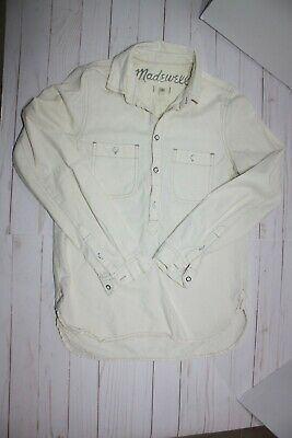 ff452662a7 Women's Madewell antique white cream Tunic pullover 1/4 buttoned shirt Size  XS