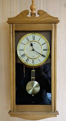 Vintage Seiko quartz wall clock solid natural oak,mechanical strikes,Pendulum.