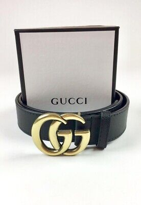 91747b75520 Gucci Belt Men s 42 Thick Gold Buckle Black Band w  Box - FAST SHIPPING