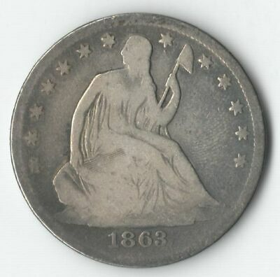 1863 S SEATED LIBERTY SILVER HALF DOLLAR 50
