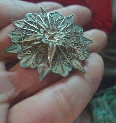 Antique Silver Cannetille Brooch 19C -  Estate - 2 post FREE