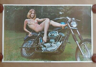 HONEY-CYCLE Classic 1970 Commercial Poster Naked Painted Woman On  A Motorcycle