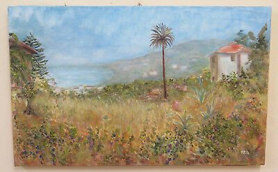 Painting Vintage Painting Oil On Canvas View Of Plains Milk In Liguria Mtb2
