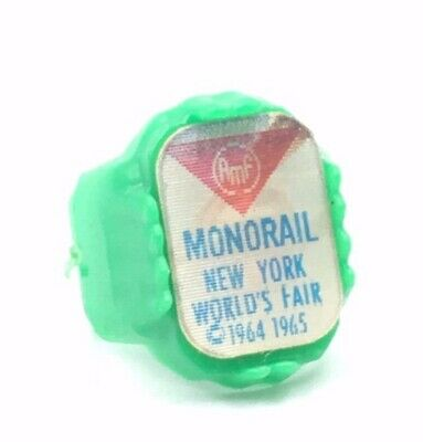 Vintage New York Worlds Fair 1964 Green Plastic Monorail Reflector Ring~RARE!