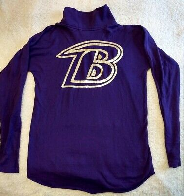 timeless design c5c6c db5f5 VICTORIAS SECRET PINK Small Baltimore Ravens Sweatshirt Top Sequin Logo NFL