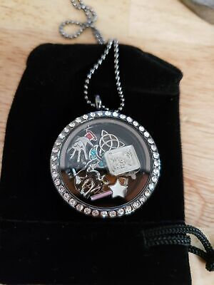 Wiccan Theme Floating Charm Necklace Witch, Pagan Glass Magnetic Locket