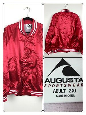 89ca581a305 Augusta Sportswear Red Satin Striped Trim Baseball Jacket Bomber Adult XXL  2X