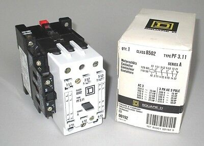 Square D Contactor 120V Coil, Class 8502 Type PF3.11, 30HP, 22kW, 1 NC 1 NO Aux.
