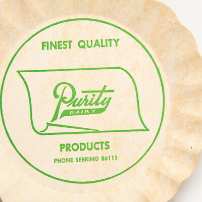 Vintage Purity Dairy Paper Pie Serving Dish Superior Paper Co