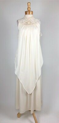 VTG 70s Hippie Boho Ivory Draped Layered Crochet Rosette Goddess Maxi Dress S