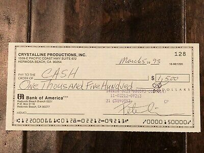 RARE PETER CRISS of KISS Signed Autographed Check - Gene Simmons Paul Stanley