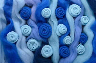 Blue MIX  Spinning Felting Wool Roving Fiber -Mixed Top Roving Bag 8 oz  Spin