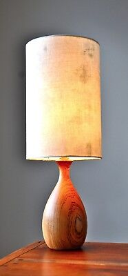 Mid Century ELM Danish teak era 'BILLUND' table Lamp with new bespoke shade