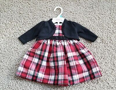 72c4972db6b CARTERS Red Black PLAID HOLIDAY DRESS CARDIGAN SWEATER Newborn Baby Girl 6  MONTH