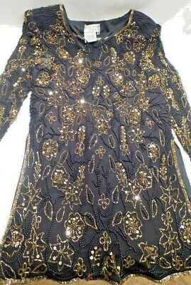 Vintage Papell Boutique Silk Beaded Sequin Evening Top Blouse Black Gold Small