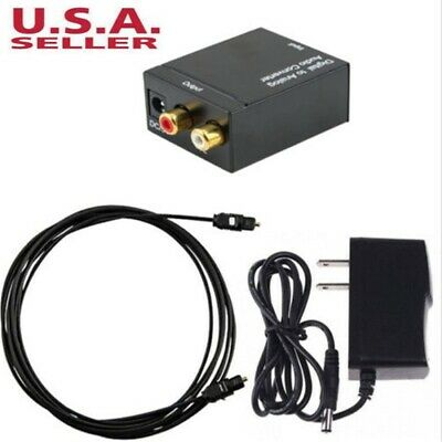 Optical Digital Coax to Analog-RCA L/R Audio Converter Adapter with Fiber Cable