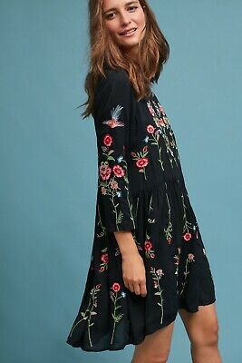 403144ffc278 NWOT Anthropologie Maeve Allison Floral Embroidered Boho Tunic Dress Black  Small