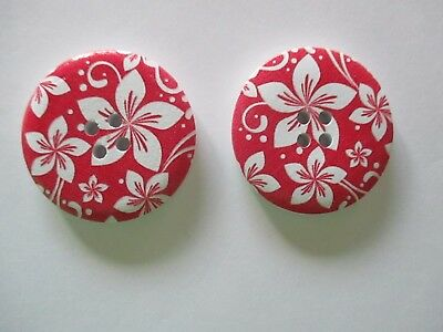 2 x 40mm Wooden BUTTONS -Red with White Flowers- Sewing or Scrapbooking No1077