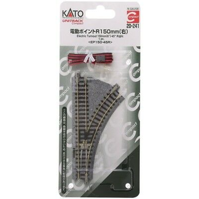 """Kato 20-241 - Unitrack Compact 150mm (6"""") Electric Turnout, Right - N Scale"""