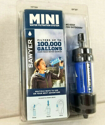 Sawyer Blue Portable Mini Water Filter Filtration System w/ 16 Oz. Pouch SP128