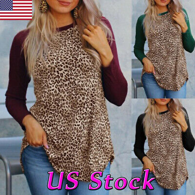 Women Leopard Print Long Sleeve Loose Casual Pullover Tops Blouse T-Shirt S-5XL