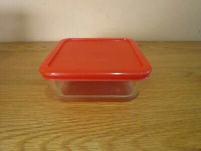 Pyrex Square Storage Dish With Red Plastic Lid Good Quality Food Tub