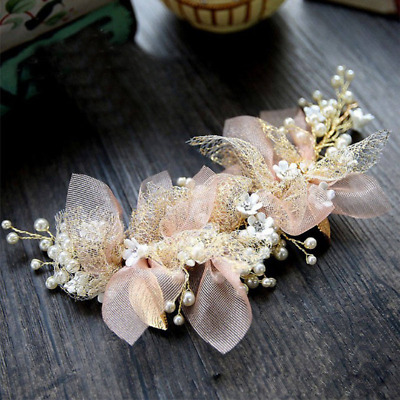 Bridal gold leaves and pink tulle flowers with pearls bridal hairpiece