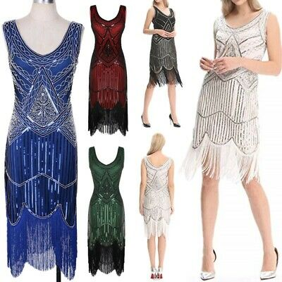 Ladies 1920s Roaring Flapper Dress Sequin Gatsby Costume 20s Fancy Dress XS-XXL