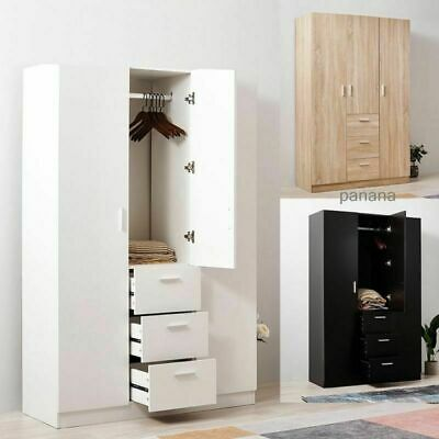 Large Wardrobes Triple 2/3 Doors 3 Drawers Wooden Bedroom in Black/ White/ Oak
